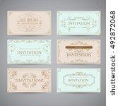 set of vintage luxury greeting... | Shutterstock .eps vector #492872068