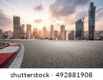 city road with cityscape and... | Shutterstock . vector #492881908