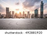city road with cityscape and... | Shutterstock . vector #492881920