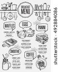 breakfast menu placemat food... | Shutterstock .eps vector #492884086