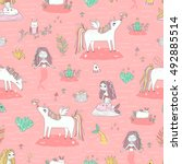 seamless pattern with cute...   Shutterstock .eps vector #492885514