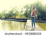 backpacker casual travel... | Shutterstock . vector #492888334
