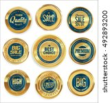 golden retro vintage badges... | Shutterstock .eps vector #492893200