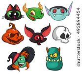 halloween characters faces set. ... | Shutterstock .eps vector #492894454