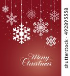 merry christmas card with... | Shutterstock .eps vector #492895558