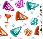 cheerleading. seamless pattern... | Shutterstock .eps vector #492901723