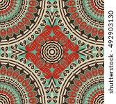 colorful ethnic patterned... | Shutterstock . vector #492903130