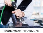 craftsman working with... | Shutterstock . vector #492907078