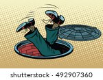 the man fell into a manhole... | Shutterstock .eps vector #492907360