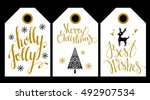 christmas holiday  tag  label.... | Shutterstock .eps vector #492907534