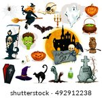 halloween traditional character.... | Shutterstock .eps vector #492912238