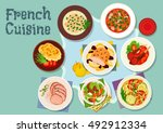 french cuisine icon with... | Shutterstock .eps vector #492912334