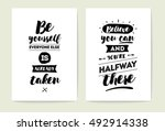 set of 2 cards or posters with... | Shutterstock .eps vector #492914338