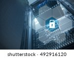 blank polygon around padlock... | Shutterstock . vector #492916120