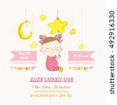 cute girl sleeping on a star.... | Shutterstock .eps vector #492916330
