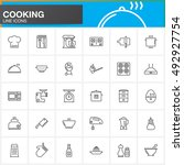 cooking line icons set  outline ... | Shutterstock .eps vector #492927754