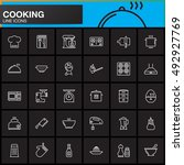 cooking line icons set  outline ... | Shutterstock .eps vector #492927769