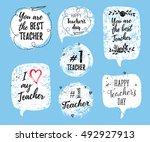 happy teacher's day labels ... | Shutterstock .eps vector #492927913