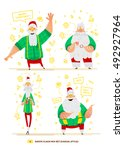 vector illustration santa claus ... | Shutterstock .eps vector #492927964