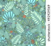 floral seamless pattern.... | Shutterstock .eps vector #492929569