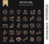 set vector line icons in flat... | Shutterstock .eps vector #492930010
