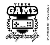 vector set  vintage video game... | Shutterstock .eps vector #492930379
