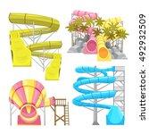 images set of aquapark... | Shutterstock .eps vector #492932509