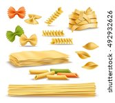 dry pasta types assortment of... | Shutterstock .eps vector #492932626