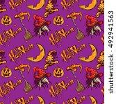 halloween pattern pumpkin witch | Shutterstock .eps vector #492941563