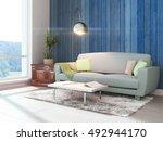 modern bright interior . 3d... | Shutterstock . vector #492944170