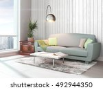 modern bright interior . 3d... | Shutterstock . vector #492944350