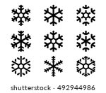 snowflake winter set of black... | Shutterstock .eps vector #492944986