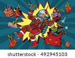 space santa claus and christmas ... | Shutterstock .eps vector #492945103