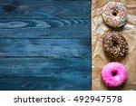 colorful donuts breakfast... | Shutterstock . vector #492947578