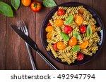 fusilli pasta salad with pesto... | Shutterstock . vector #492947794