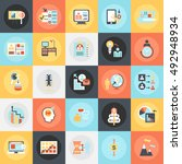flat conceptual icons pack of... | Shutterstock .eps vector #492948934
