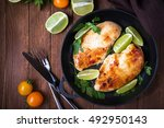 chicken breasts with lime and... | Shutterstock . vector #492950143
