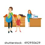 concept of a visit to the store ... | Shutterstock .eps vector #492950629