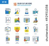 color flat line icons set of... | Shutterstock .eps vector #492951058