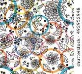 seamless floral pattern  hand... | Shutterstock .eps vector #492952948