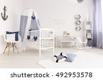 white crib with canopy in... | Shutterstock . vector #492953578