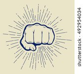 fist with sunbursts in vintage... | Shutterstock .eps vector #492954034