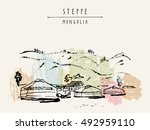 vector mongolia postcard. yurts ... | Shutterstock .eps vector #492959110