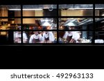 many chefs busy in kitchen | Shutterstock . vector #492963133