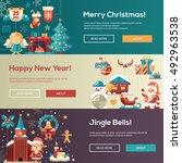 christmas flat design modern... | Shutterstock .eps vector #492963538