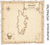 phuket old pirate map. sepia... | Shutterstock .eps vector #492966760