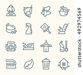 cleaning line icons | Shutterstock .eps vector #492974569