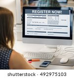 register now application form... | Shutterstock . vector #492975103
