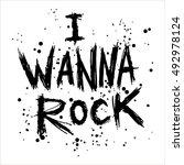 vintage poster i wanna rock  ... | Shutterstock .eps vector #492978124
