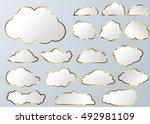 cloud vector icon set white... | Shutterstock .eps vector #492981109